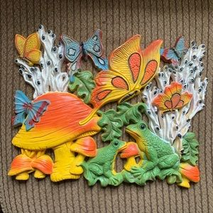 Vintage 70's Mushroom Butterfly Frog Wall Plaque
